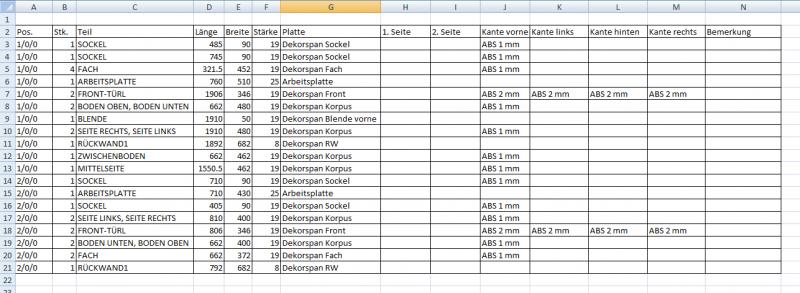 Abstellraum_05_Stückliste in Excel